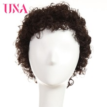 UNA Indian Human Hair Wigs Remy 120% Density Short Jerry Curl Color #1 #1B #2 #4 #27 #30 #33 #350 #99J #BURG 6377