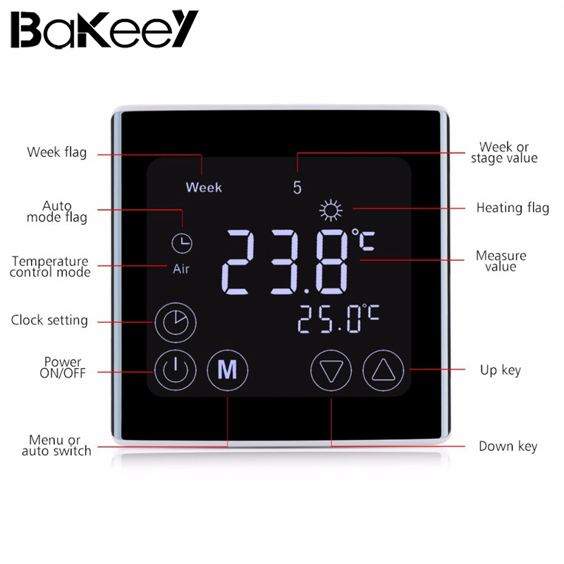 Big Sale Bakeey Smart Home LCD Touch Screen Wall Floor Termostat 85-250V 16A Weekly Programmable Automatic Temperature Control