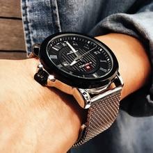Naviforce Для мужчин кварцевые часы Элитный бренд Повседневное Для мужчин спортивные наручные часы Нержавеющаясталь группа Водонепроницаемый мужской Relogio Masculino