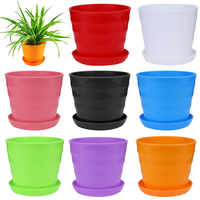 Colourful Mini Plastic Flower Pot Succulent Plant Flowerpot Home Office Decor Home Garden Office Desktop Planter Container