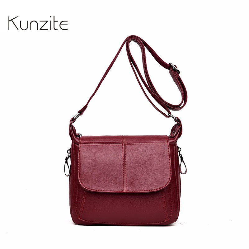 Kunzite Women Leather Shoulder Bags for Designer Brand Vintage Handbag for Ladies Messenger Bags Female Crossbody