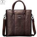YINTE Genuine Leather Men's Handbag Casual Shoulder Bag Leather Laptop Bag Leisure Package Weave Pattern Bags Portfolio T22841