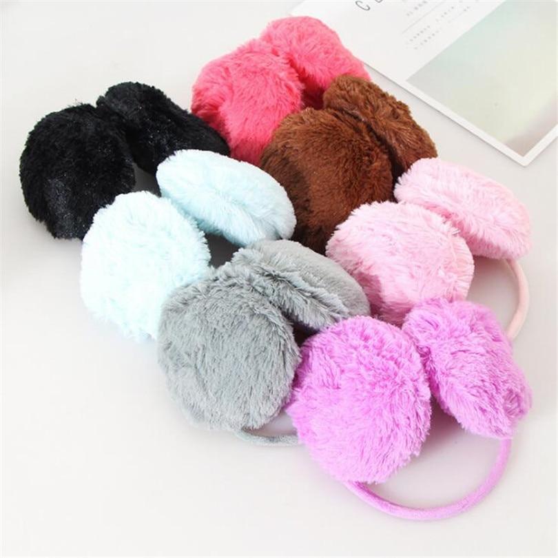 YGYEEG 1pcs/lot 15.5cm Winter Plush Women Earmuffs Pure 7 Colors Warmers Ear Muffs Hot-sale Muffs Hot Sale Winter Warm Earmuffs