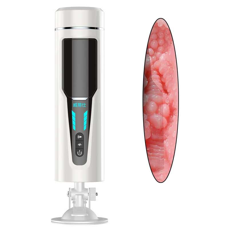 7 Mode Vibration & 7 Mode automatique télescopique mâle masturbateur tasse intelligente voix ventouse réaliste vagin masturbateur