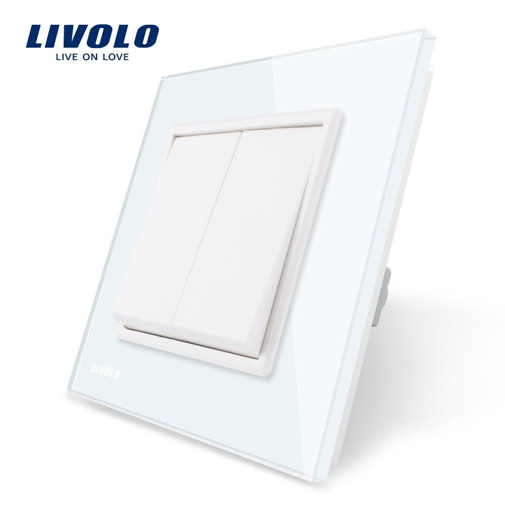 Livolo Hersteller Luxus Weiß/Blackcrystal glas panel, zwei banden, Push-taste schalter, 2 Gang 1 Weg VL-C7K2-11/12