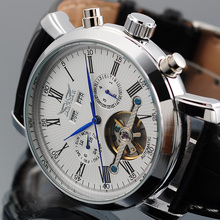 JARAGAR גברים של שעונים Tourbillon מכאני Mens שעונים תאריך לוח שנה שבוע חודש משולב שעוני יד erkek kol saati