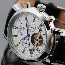 JARAGAR الرجال الساعات توربيون الميكانيكية ساعات رجالي تاريخ التقويم اسبوع متعددة الوظائف المعصم erkek كول الساعاتي