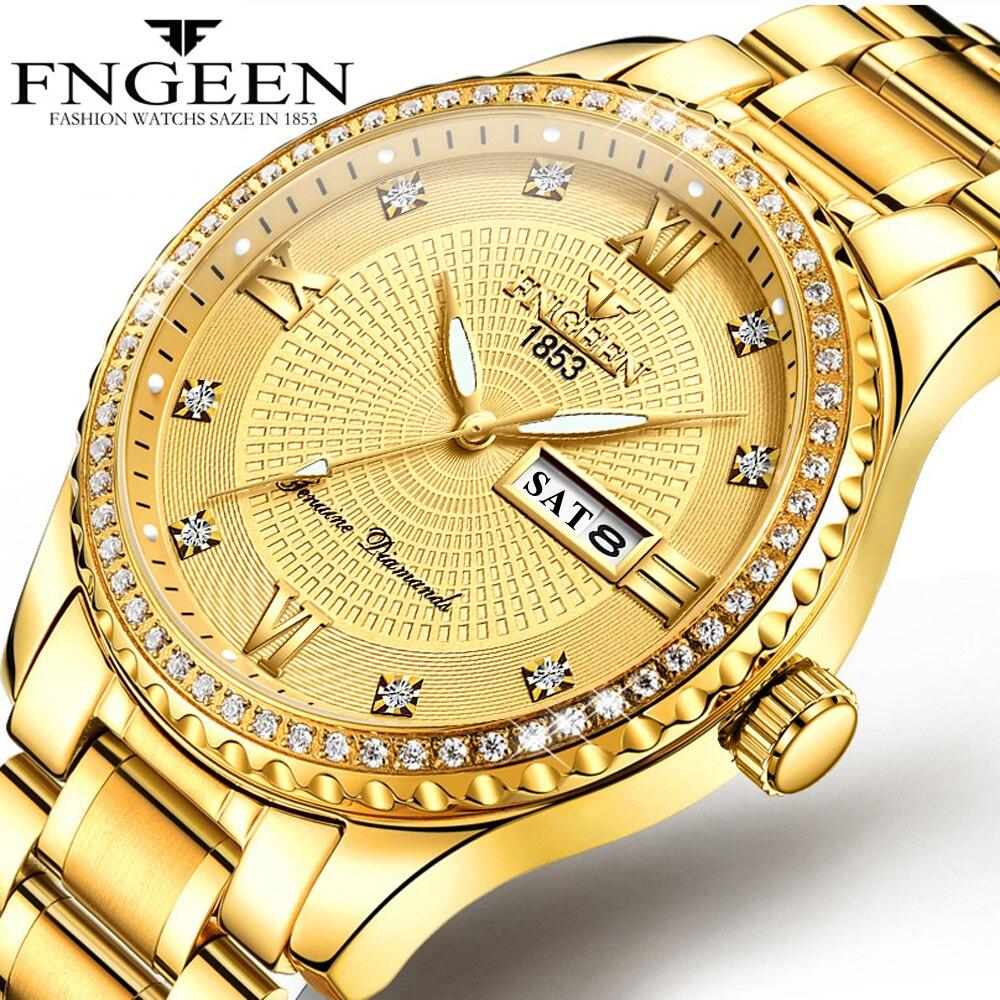 8be4a4785ba3 Reloj de lujo Uxury de alta gama dorado para hombre con puntero luminoso  Anti-vibración reloj no ...