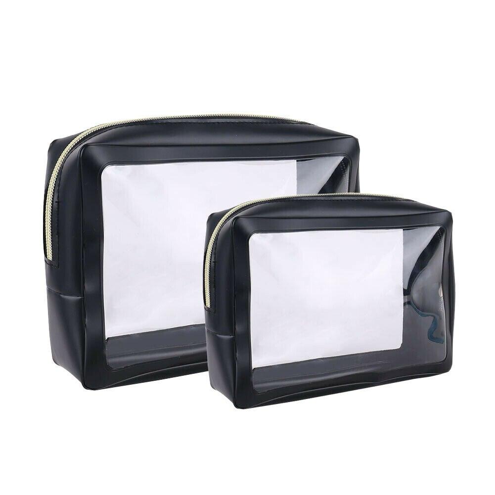 Portable Waterproof Transparent Cosmetic Bag Leisure Travel Multi-function Wash Cosmetic Storage Makeupup Bag 2Pcs