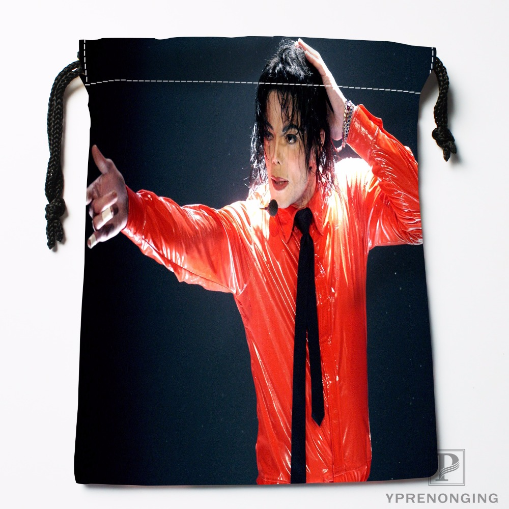 Custom Michael Jackson Drawstring Bags Travel Storage Mini Pouch Swim Hiking Toy Bag Size 18x22cm#0412-03-25