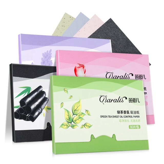 1Pack=80pcs Protable Facial Absorbent Paper Oil Control Wipes Green Tea Absorbing Sheet Matcha Oily Face Blotting Matting Tissue