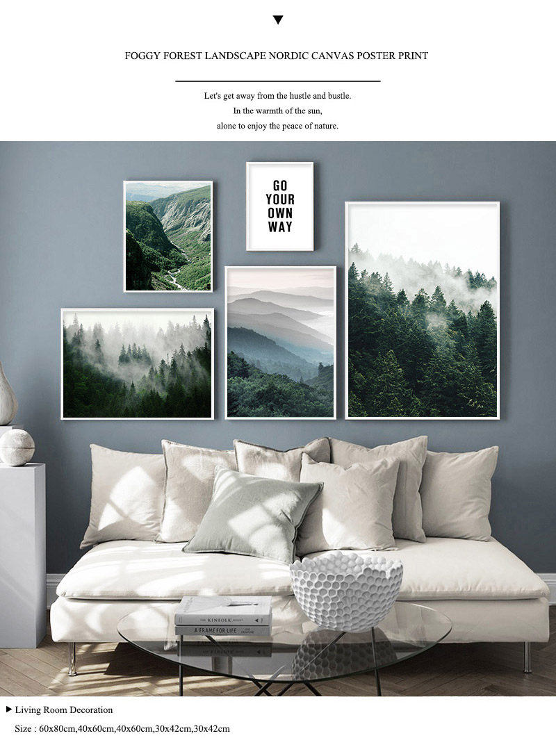 HTB1gPUld2WG3KVjSZPcq6zkbXXaw Mountain Foggy Forest Picture Nature Scenery Scandinavian Poster Nordic Decoration Landscape Print Wall Art Canvas Painting
