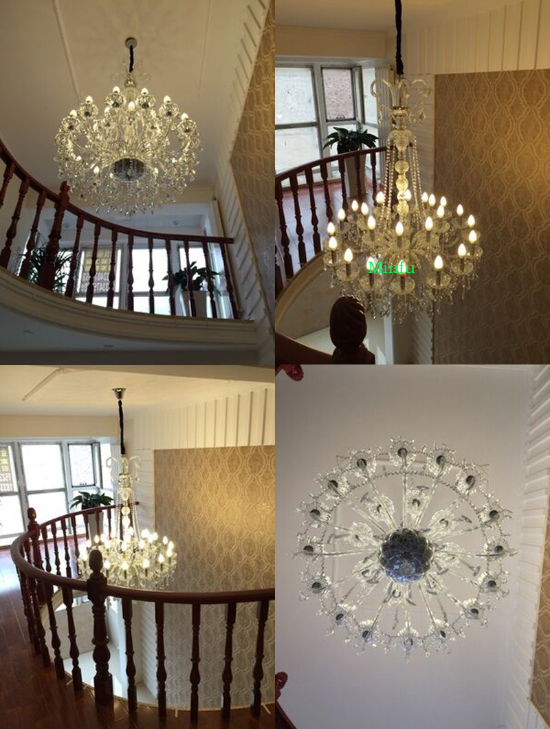 high ceiling chandeliers crystal ball chandelier modern staircase - Indoor Lighting - Photo 4