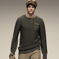AK CLUB Brand Sweater Woolen Runway Edition O Neck Chest Pocket Wool Men Sweater Crew Neck