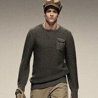 כיס חזה AK מועדון O-צוואר מהדורה מסלול צמר סוודר מותג גברים צמר סוודרי Crew Neck סוודר בסגנון צבאי צמר 1203014