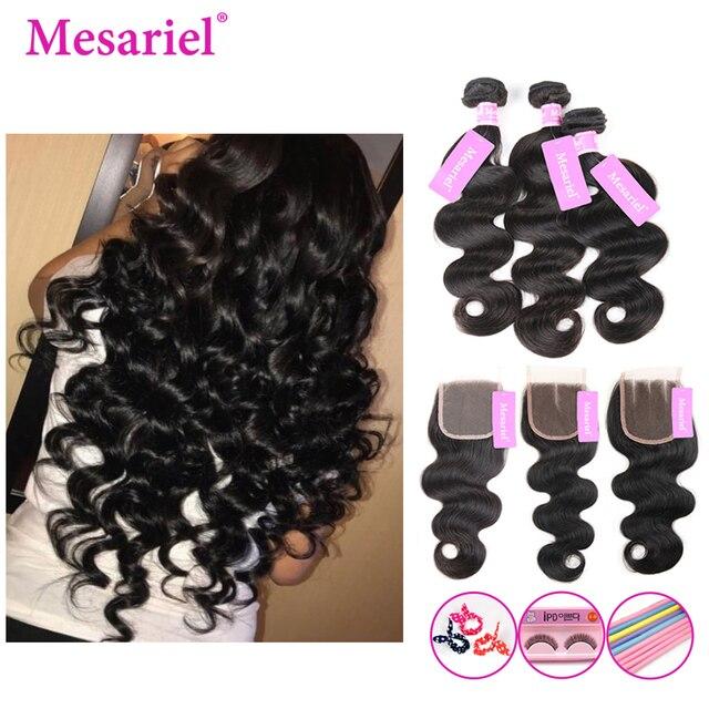 Paquetes de onda del cuerpo Mesariel con el pelo brasileño de la armadura del cierre 2 3 4 paquetes con el cierre Remy paquetes de cabello humano con cierre