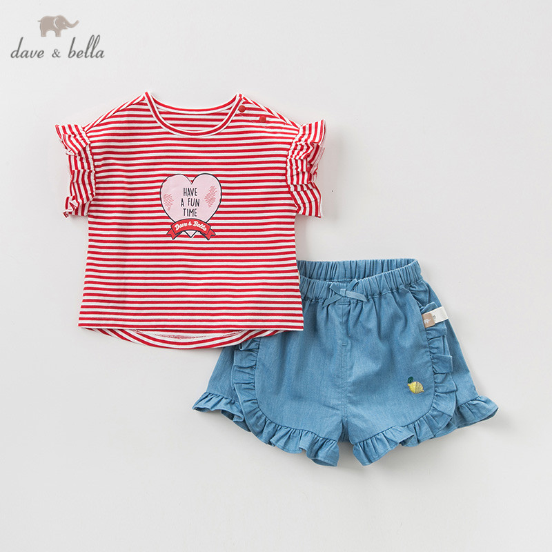 DBH10291 Dave bella summer baby girl clothing sets cute love striped children suits infant high quality clothes girls outfit DBH10291 Dave bella summer baby girl clothing sets cute love striped children suits infant high quality clothes girls outfit