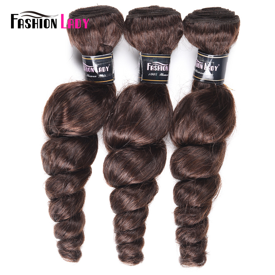 Fashion Lady Pre-colored Brazilian Loose Wave 3 Bundle Deals Hair Extensions 2# Dark Brown 100% Human Hair Bundles Non-remy Hair