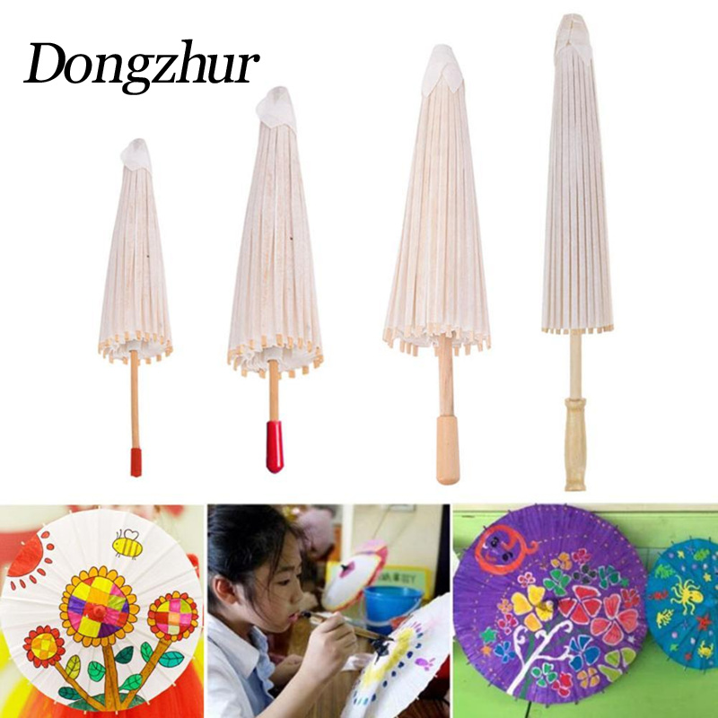 Dongzhur Children DIY Handmade Blank Paper Umbrella Graffiti Kids Toys Hand-Drawing Craft Umbrella Kindergarten Art Manual Class