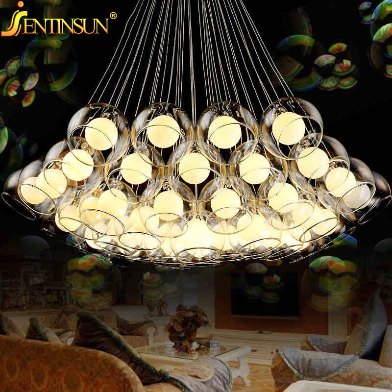 Art Deco Glass Ball Shade Pendant Light LED Clear Bulb Lights Creative Modern Cord Hanging Light For Dining Room Bar Foyer Bar