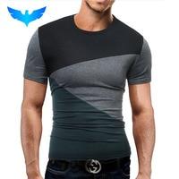 QINGYU Tshirt Brand 2017 Male Short Sleeve T Shirt O Neck Men T Shirt Simple Splicing