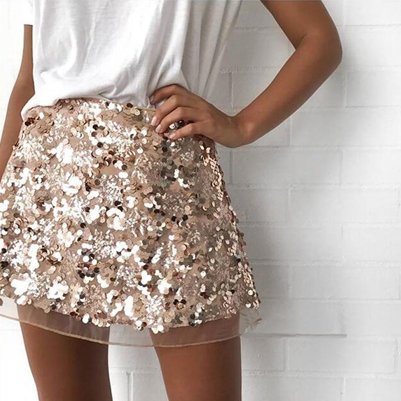 European style 2019 New Arrival Short Women <font><b>Skirt</b></font> Cute Plus Size <font><b>Rose</b></font> <font><b>gold</b></font> bright Sexy Female A Line Tutu Club <font><b>Skirts</b></font> New Puff image