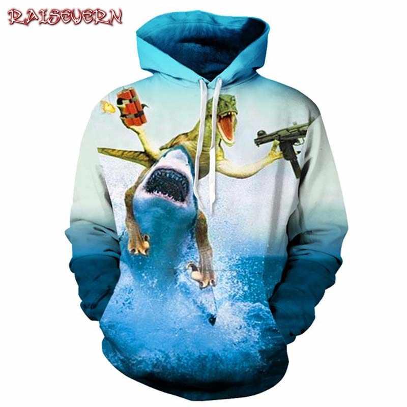 Raisvern Dinasour и Shark Fighting Togrther свитшоты спортивная рубашка Забавные 3d толстовки Женская одежда крутые худи в стиле аниме человек