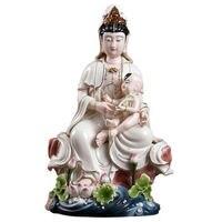 Dehua ceramic craft master cheng works 13 inch lotus SongZi guanyin furnishing articles paint colour