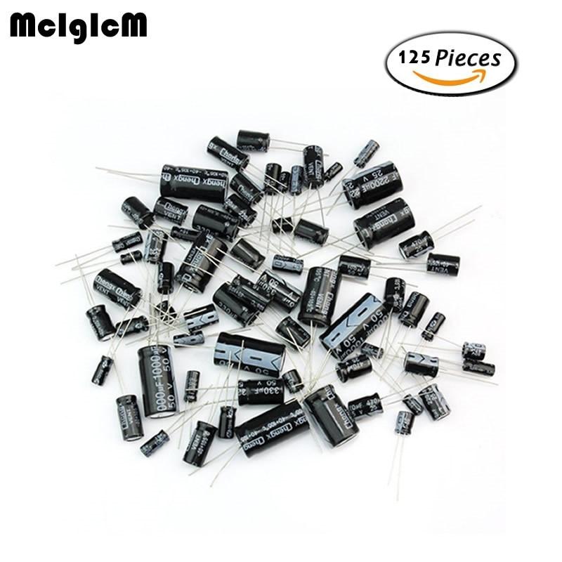 MCIGICM 125pcs 25 Values Total Electrolytic Capacitors Assortment Kit Set 1uF To 2200uF Electronic Components