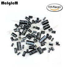 125pcs 25 Values Total Electrolytic Capacitors Assortment Kit Set 1uF to 2200uF