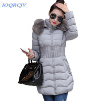 Winter down cotton jacket women New Big fur collar Hooded parkas Plus size 4XL Slim female Thick warm Cotton padded jackets N796