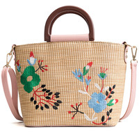 Fashion embroidery flower rattan tote bag new grass beach shoulder crossbody bags for women 2018 bag tide hand held small bag