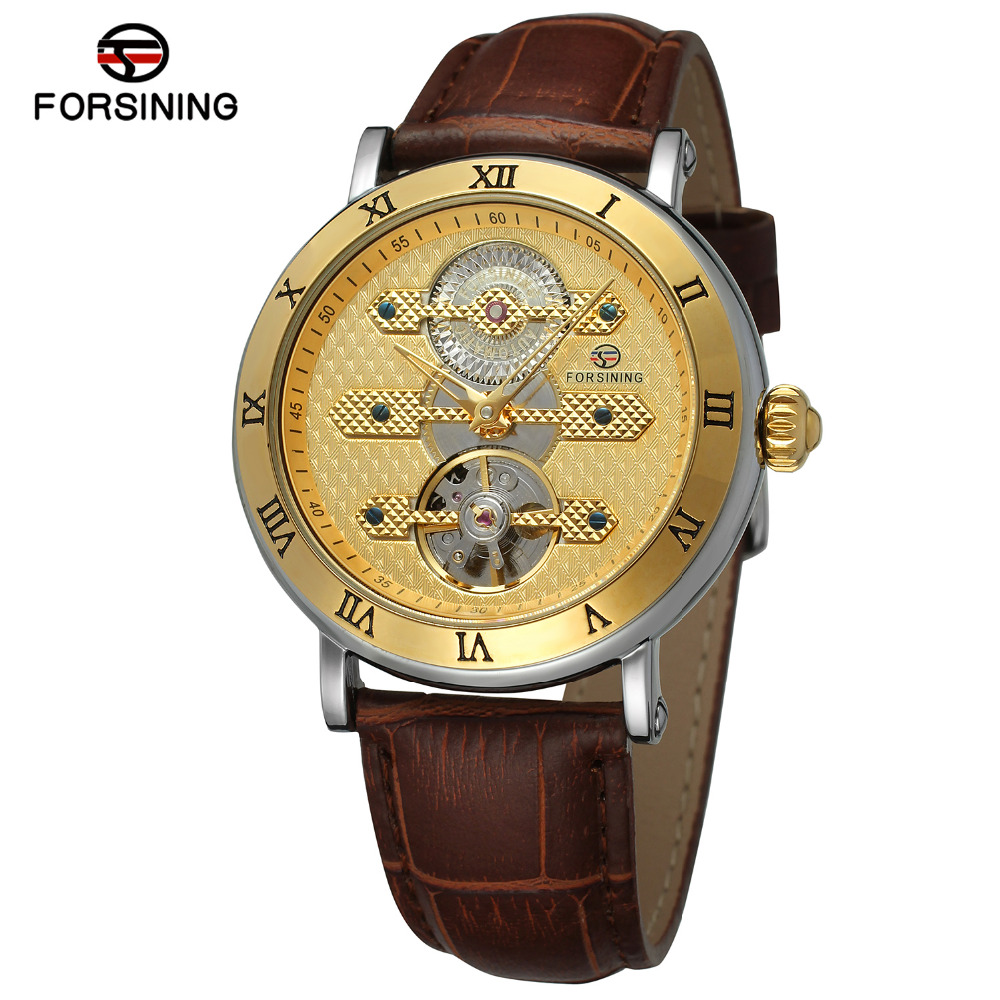FORSINING Brand Mens Roman Number Genuine Leather Band Tourbillon Automatic Mechanical Watch Elegant Wristwatch Relogio Releges