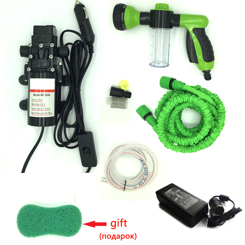 carzkool 110 v – 220v to 12 v power converter connect  12 v car washing machine cleaning pump high pressure water pump