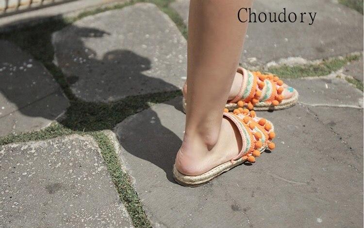 Top Designer balle Pom Pom dame pantoufles Floral embelli femmes appartements gladiateur sandales chaussures fille tongs chaussures livraison gratuite - 2