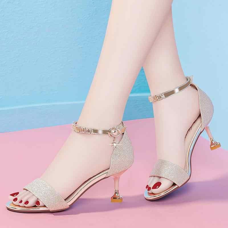 Frauen Sandalen 2019 Sommer Schuhe Frau High Heels Sandale Gold Hochzeit Schuhe Ankle Strap Kleid Schuhe Peep Toe zapatos mujer a7494