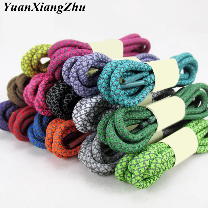 1 Pair Fluorescent Sneaker Shoestrings Sports Lace Polyester Paisley Reflective Shoelaces Ronds Visible Safety Cordon Shoe Lace