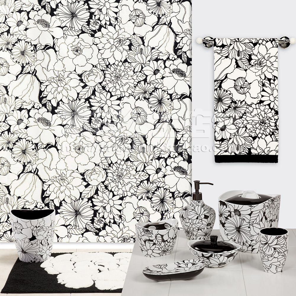 183*183 CM 2015 European Elegant Cotton Printed Thick Plastic Shower Curtain Liner Gifts - Black And White Peonies