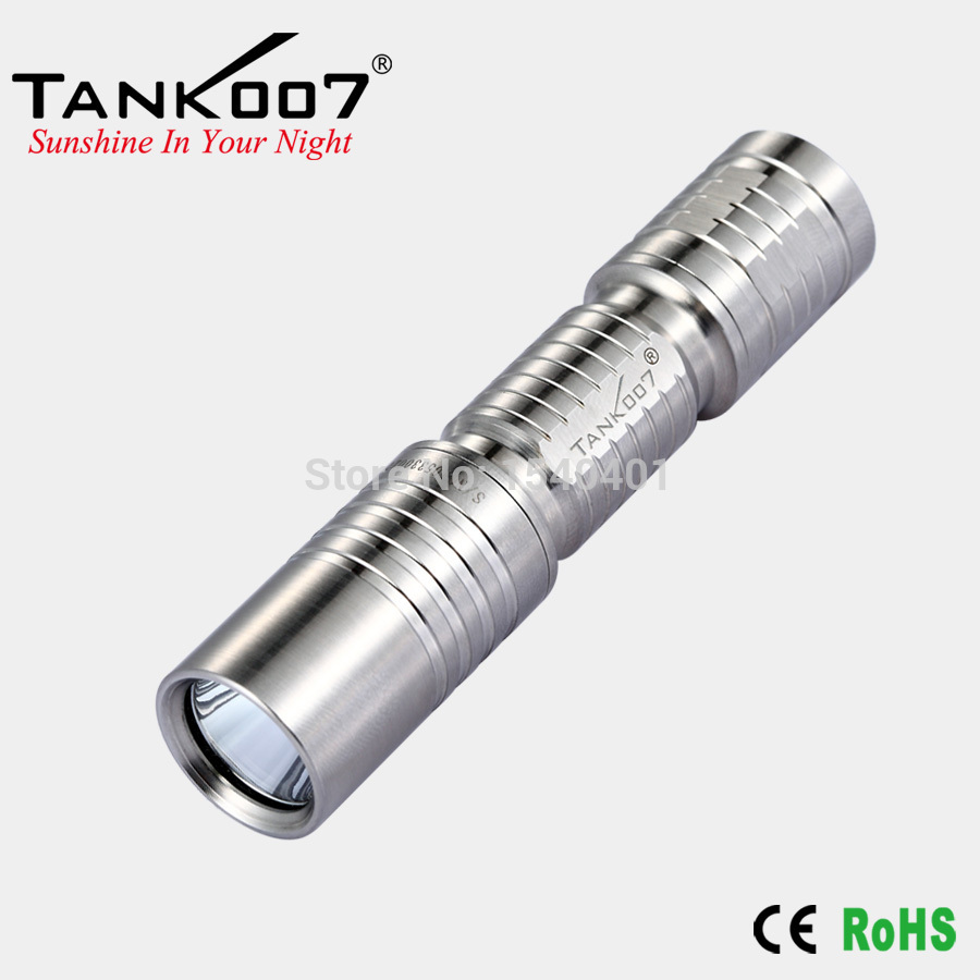 TANK007 E3 Cree XP-G R5 Stainless Steel mini LED Flashlight Torch keychain 180lumens stainless steel mini spoons scoops keychain