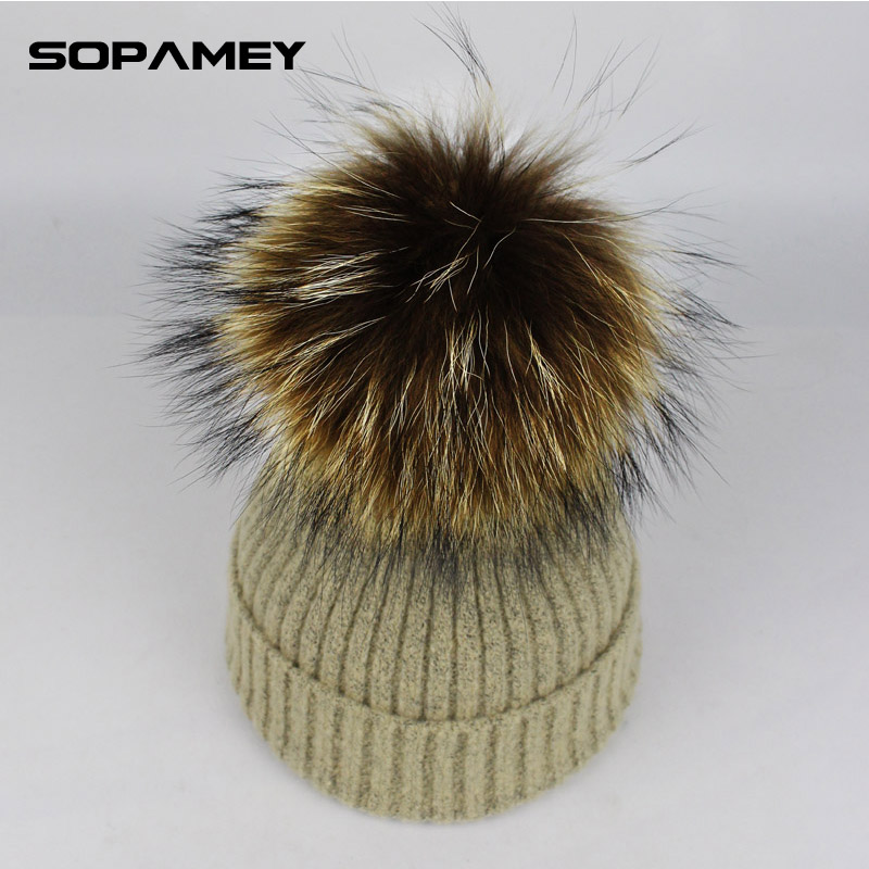2017 winter hat fur ball knitted warm hats for women Skullies Beanies Fur Pom Poms Pretty classic knit cap lines bone gorras wholesale two fur ball pompon solid beanie hats pom poms hats winter warm skullies