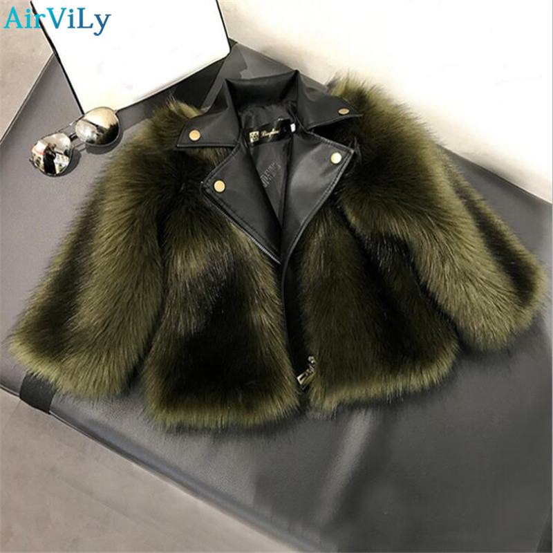 Fashion Girls Fur Coats 2017 New Baby Girls PU Leather Faux Fox Fur Motorcycle Jackets Winter Warm Kids Outerwear Coats winter fur hooded warm jackets for girls padded coats thicken pu leather patchwork fox faux fur collar jacket outerwear w57