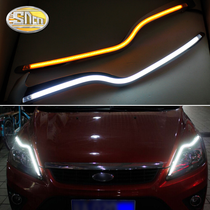SNCN 2PCS Car Headlight Eyebrow Decoration Yellow Turn Signal Relay DRL LED Daytime Running Light For Ford Focus 2 MK2 2009-2011 sncn led daytime running light for ford focus 4 mk4 2015 2018 yellow turn signal relay waterproof 12v drl fog lamp decoration