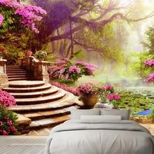 Custom 3D Photo Wallpaper Roll Large Living Bedroom Sofa TV Background Non-Woven Wallpaper Garden Forest Landscape Home Decor цена 2017