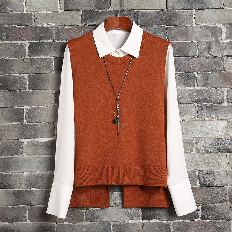 Knitted Vest Womens Casual O Neck Solid Color Backless Lace Up Tops Female Sleeveless Sweater Vest Autumn Winter Basic Tops