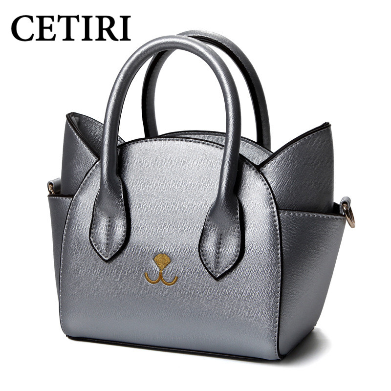 2017 New Women Chic Cat Bags Cute Woman Wing Handbag Fashion PU Leather Small Me