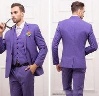 Slim Fit Purple Groom Tuxedos Notch Lapel Center Vent Men S Suit One Button Best Man