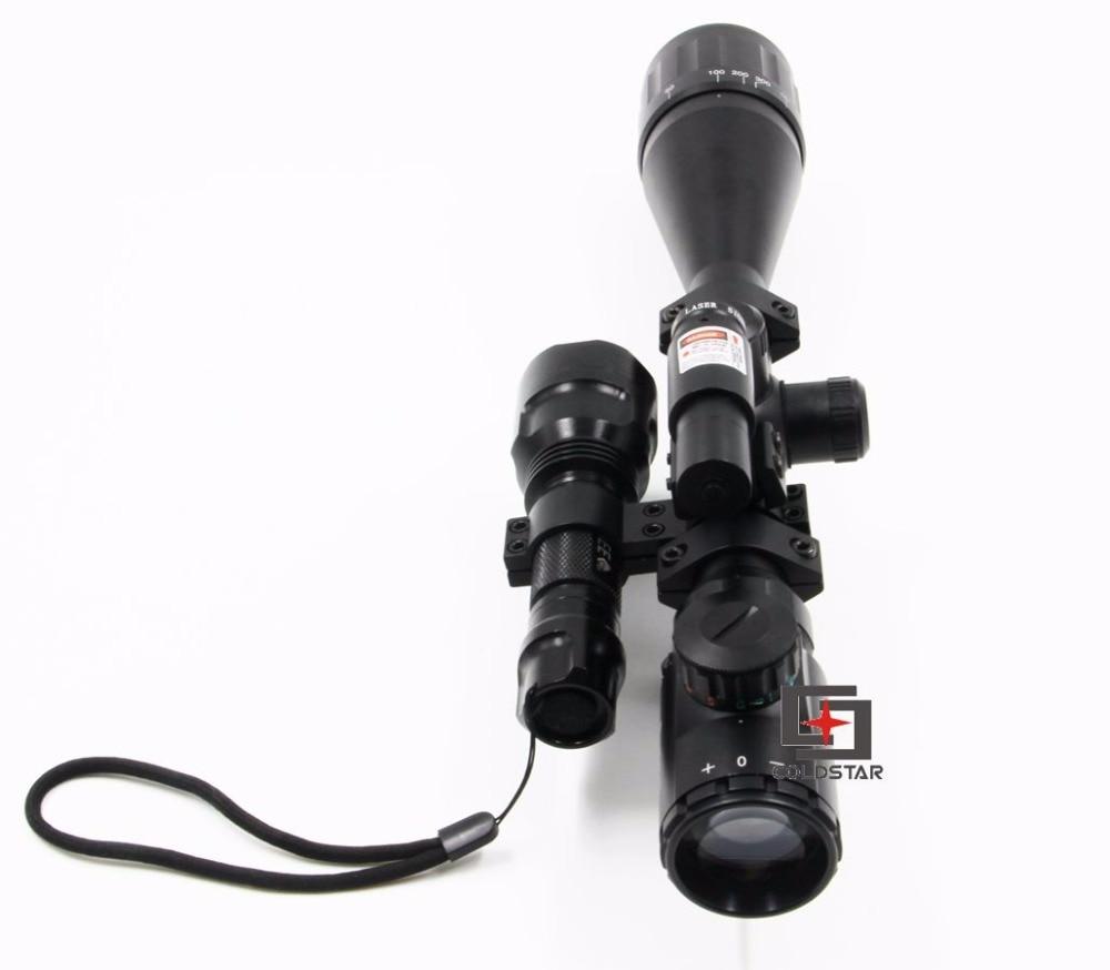 Free Hunting Rifle Scope 6-24x50AOE xw/ Laser & CREE T6 LED Hunting Flashlight 5-Mode C8 Torch Flash Weapon Light