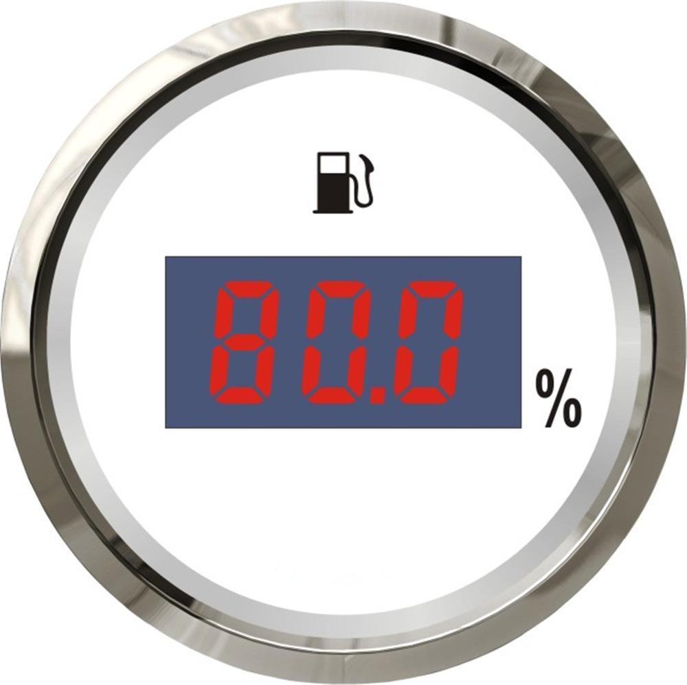 1 pc Marque Nouveau 52mm Numérique Niveau de Carburant Jauge Étanche Blanc Carburant Niveau Mètres 12 v/24 v fit pour Bateau Auto