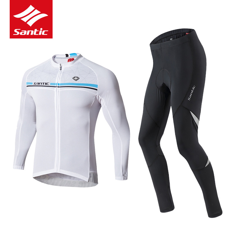 Santic Autumn Cycling Jersey Set Men MTB Road Bike Jersey Set Long Sleeve Downhill Mountain Bicycle Clothing Roupa De Ciclismo santic men short sleeve cycling jersey breathable summer cycling clothing mtb road downhill bicycle bike jersey anti sweat