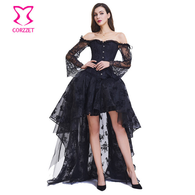 84e80f3bb02 Corzzet Victorian Black Lace Long Sleeve Corset Skirt Plus Size Bustier Top  Costume Gothic Steampunk Corsets And Bustiers